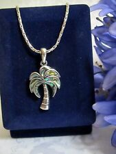 Paua Shell Palm Tree Pendant Rhodium Plated Link Chain Necklace **NWOT**