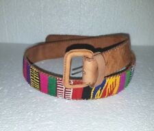 "Hand made Leather Guatemalan Mayan Hippie Woven 1990's Belt sz 32"" Nos L4"
