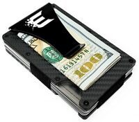 Exenact Black Carbon Fiber Wallet Money Clip RFID Blocking Credit Card Holder