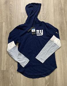 NIKE NFL New York Giants Football Throwback Hooded Henley Shirt - Navy Men's M