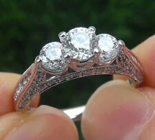 Ring 14K White Gold Over 925 Silver 1.5ct Cubic Zirconia Dia 3 Stone Engagement