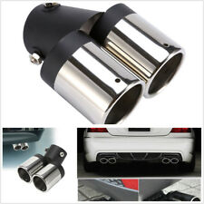 Car Stainless Steel Exhaust Pipe Chrome Muffler Tip Tail Y-Pipe Dual Pipes 1pcs
