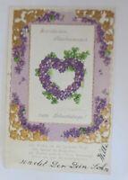 Geburtstag, Blumen, Veilchen, Spruch,      1907, Prägekarte  ♥