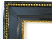 ART DECO BLACK/GILDED WOOD FRAME FOR PAINTING 16 X 12 INCH  ( e-12)