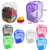 Laundry Basket Pop Up Mesh Bin Tidy Storage Toys Fold-able Cloth Washing Bag UK