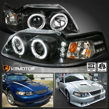 Fits 1999 2004 Ford Mustang Black Led Halo Projector Headlights Lamps Leftright Fits Mustang