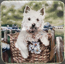 White Dog In a Basket Unfilled Cushion - Size 45cm x 45cm Polyester / Cotton