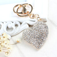 New Sweet Peach Heart Crystal Rhinestone Charm Pendant Purse Bag Key Chain Gift