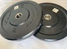 """⚡️Set of 2 CAP 25lb Olympic 2"""" Barbell Bumper Plates 50lb Total Black Rubber⚡️"""