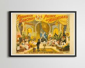 """1895 Prince of Magicians POSTER! (up to 24"""" x 36"""") - Frederick Bancroft - Magic"""