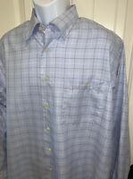 IKE BEHAR New York Button Front L/S Blue Plaid Cotton Shirt Sz XL EUC