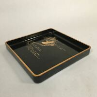 Japanese Lacquer Tray Square Obon Vtg Nurimono Black Makie Gold Bird UR377