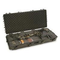 Compound Bow Hard Case Archery Rifle Wheels Padded Waterproof Storage Lock Box