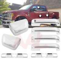 Fit 2016-2017 2018 Nissan Titan Chrome Towing Mirror Cover+Door Handle Cover W//S