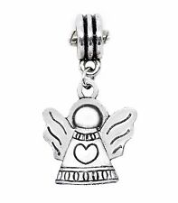 Guardian Angel Heart Cherub Christmas Holiday Dangle Charm for European Bracelet