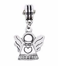 Guardian Angel Heart Cherub Christmas Holiday Dangle Charm for European Bracelet