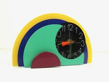 VERY RARE MID CENTURY COLORFUL ITALIAN MEMPHIS POSTMODERN TABLE CLOCK 1980 ART