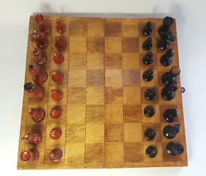 Rare vintage russian, completely wooden chess set. Made in USSR .