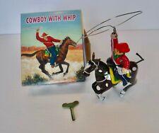 Osh MS418 China Tin Litho Clockwork Wind-up Cowboy With Whip MIB