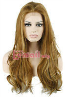 "Womens 22"" Long mix brown&blonde natural Wavy synthetic hair lace front wig LC66"