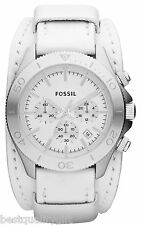 NEW-FOSSIL WHITE LEATHER CUFF BRACELET+SILVER TONE CHRONO DIAL+DATE WATCH CH2858