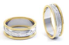 14k Gold & Sterling Silver Irish Handcrafted Celtic Claddagh Wedding Ring Set