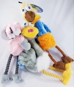 Multipet Bird Brains Squeaker Rope dog toy Ostrich Swan Flamingo puppy gift B63