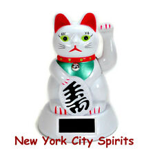 Solar Powered Waving Hand Lucky Cat, White