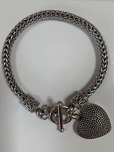 Chunky Suarti Sterling Silver 925 T-Bar Heart Bracelet 43g 21cms