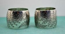 2  Victorian sterling silver Napkin Rings M & W Sheffield 1898 floral bright cut