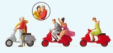 Preiser 10607 h0, VESPA-chauffeur, Scooters-chauffeur, 3 Scooters et 5 personnages, NEUF