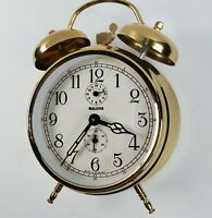Vtg Brass Bulova Alarm Clock W/ Twin Bells Mechanical Wind Up Made in Germany