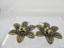 Vintage Animal Print Flower Hanging Earrings