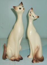 Vintage Pair of Porcelain Napcoware Tall Siamese Cat Figurines One As Is