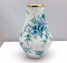 Vintage PMR Bavaria Jaeger & Co Germany Blue Rose Motif Gilt Rim Porcelain Vase