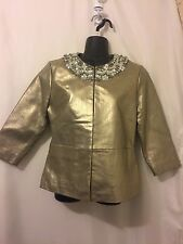 Chico's Womens Gold Leather Jacket with rhinestones NWT-size0 (missing 2 stones)