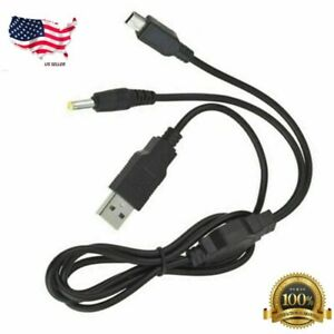 2-In-1 USB Data Cable Charger Charging Cord For PSP 2000 3000 Gaming Accessories