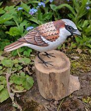 Hand Painted House Sparrow Garden Bird hand carved British Bird Ornament
