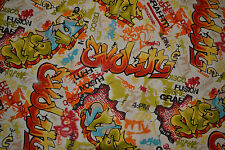Graffiti Curtain Fabric By The Metre Boys Kids Teenager Bright Blinds Bedspreads
