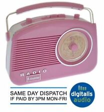Pink Steepletone Brighton 1950 Retro Style 3 Band Portable Radio FM MW and LW