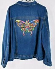 Vintage Blue Denim Jean Jacket Upcycled BUTTERFLY Ribbon Embroidery Embroidered