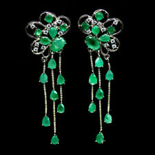 NATURAL GREEN EMERALD & WHITE CZ EARRINGS 925 SILVER STERLING