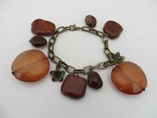 LOVELY LADIES AMBER GLASS AGATE BRASS BRACELET COSTUME JEWELLERY