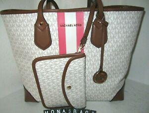 Michael Kors Signature Eva Large Tote Bag Tea Rose Pink Brown Multi NWT $298
