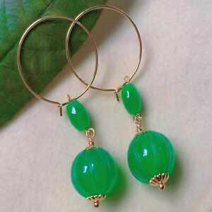 Fashion natural green jade pumpkin chalcedony beads gold ear stud Women CARNIVAL