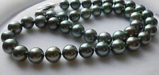 """huge 18""""12-13mm perfect tahitian genuine black pearl necklace round 0108"""