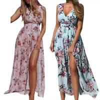 Women's Summer Boho Floral Long Maxi Party Beach Dress Evening Cocktail Sundress