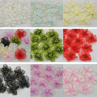 "10-50 pcs Big Bead satin ribbon flowers bows with Appliques Craft Wedding 1.96"""