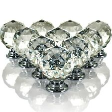 10 Crystal Glass Door Knobs Diamond Drawer Cabinet Furniture Handle Knob Kitchen
