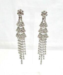 B.Brilliant Long Statement Cubic Zirconia Earrings Fringe Drop Chandelier